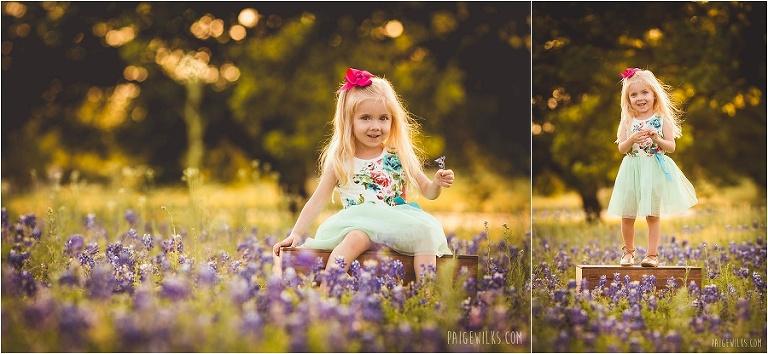 little girl bluebonnets