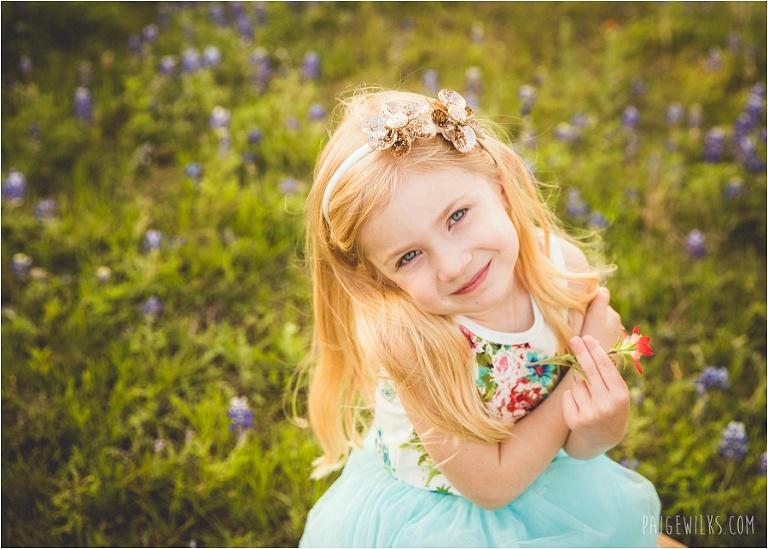 little girl texas bluebonnets