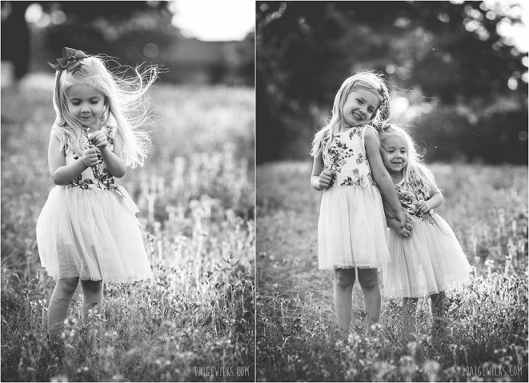 backlit girls in field wildflowers