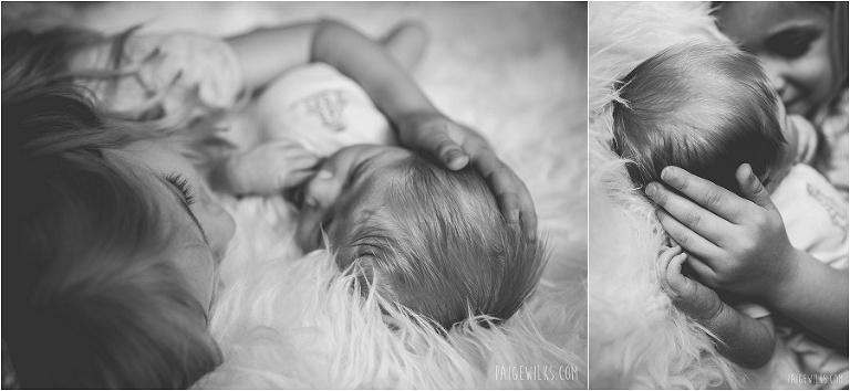 big sister bonds with newborn sibling