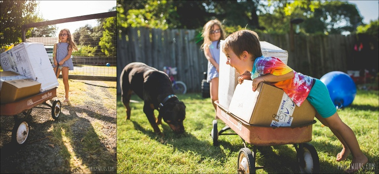 kids pulling wagon with package bookshark