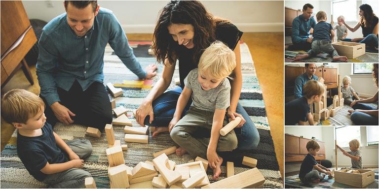 family children play blocks