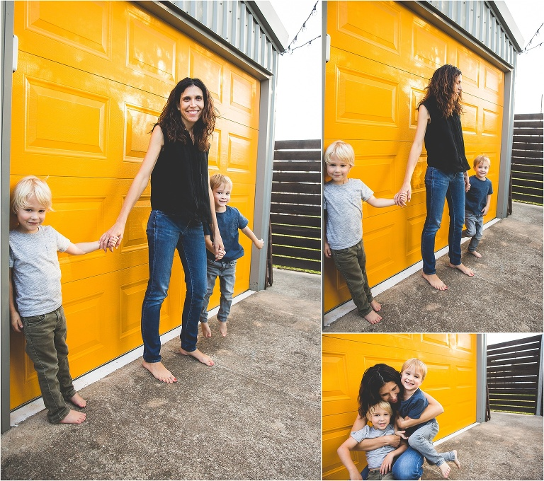 yellow wall mother twin boys